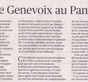 Proposition pour le transfert des cendres de Maurice Genevoix au Panthéon le 11 novembre2014