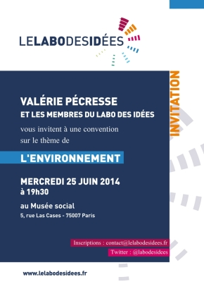 Convention du Labo des Idées sur l'environnement – le 25 juin à19h30