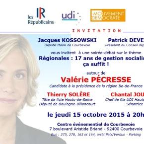 Valérie Pécresse à Courbevoie le jeudi 15octobre