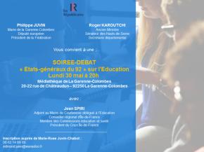 RDV ce lundi à 20h pour les Etats généraux LR 92 sur le thème de l'éducation